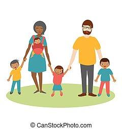 vector., rennen, drei, familie, karikatur, children., ilustration, gemischter