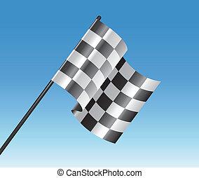 Vector-Rennrennen mit Flagge und blauem Himmel.
