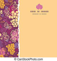Vector süßer Rebsorten eckigen Rand, nahtlose Muster Hintergrund mit hand gezeichneten Früchten und Blättern.