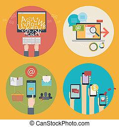 Vector Satz von Flat Design Konzept Icons für Blogging, Web Design, seo, soziale Medien. Business-Konzepte - Online-Shopping, Bildung, Lernen, Werbung, Entwicklung, Kommunikation, Analyse, mobile Dienstleistungen und Apps