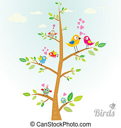 Vector schöne Vögel auf der Ast.