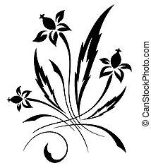 Vector schwarz ein weißes Blumenmuster