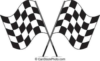 Vector schwarz und weiß gekreuzt Rennen markierte Flaggen Clipart.