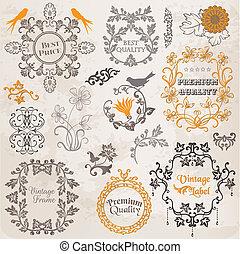 Vector Set: Kalligrafische Designelemente und Seitendekoration, Vintage-Rahmensammlung mit Blumen.