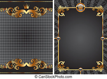 Vector Set von gold & schwarzer Luxus-Dekorative Hintergrund