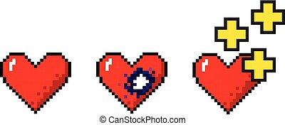 Vector Set von pixelart hearts Medical concept
