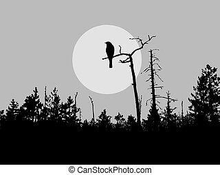 Vector Silhouette Vogel auf dem Baum