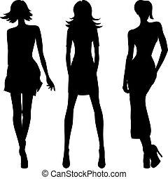 Vector Silhouette von Modemädchen Topmodels