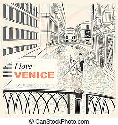 Vector Skizze einer Landschaft die Brücke von Seufzer in Venedig.