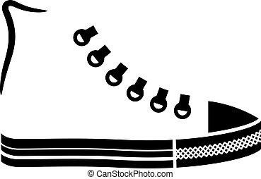 Vector Sneaker Leinwandschuh schwarze Ikone