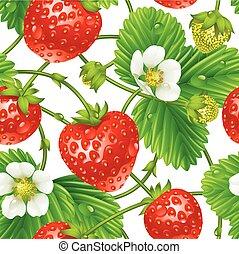 Vector Strawberry nahtlose Muster isoliert auf weißem Hintergrund.