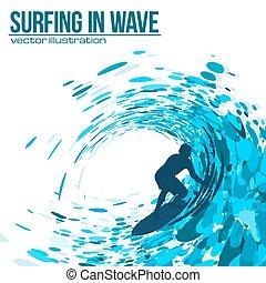 Vector Surfer Silhouette in blauer Welle.