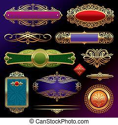 Vectors Set von goldenen Ornate-Seiten-Elementen: Banner, Rahmen, Devider, Zierde und Muster im dunklen Hintergrund