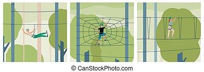 vektor, besucher, leitern, kletterndes seil, illustration., wohnung, abenteuer, park