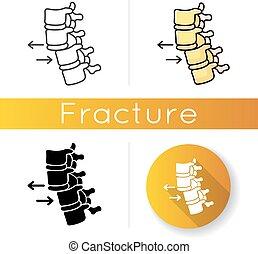vektor, condition., verrenkung, farbe, schwarz, treatment., rückgrat, healthcare., medizin, verdrängung, linear, trauma, vertebra., rgb, illustrationen, icon., freigestellt, styles., injury., accident., spinal