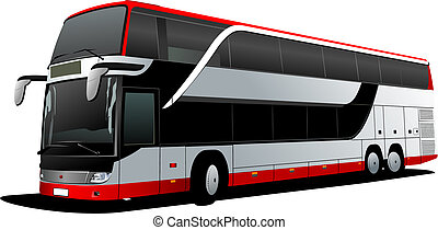 vektor, decker, coach., doppelgänger, rotes , bus., abbildung, tourist