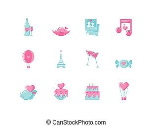 vektor, design, ikone, valentinestag, liebe, satz