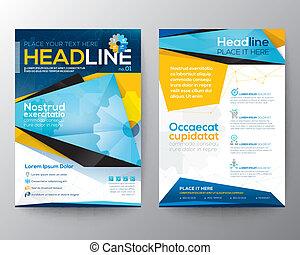 vektor, dreieck, broschüre, abstrakt, jährlich, decke, broschüre, zeitschrift, flieger, design, schablone, bericht, plan