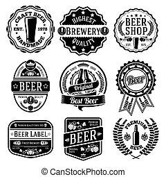 vektor, emblems., bier, satz, etiketten