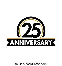 vektor, geburstag, ungewöhnlich, fünfundzwanzigst, symbol., jubilee., circle., jubiläum, bogen, logo., label., 25., abstrakt, 25, jahre