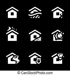 vektor, gehäuse, satz, icons., unglück