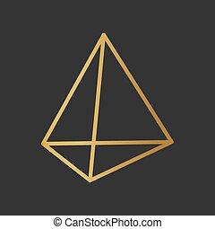vektor, goldenes, icon-, tetrahedron, abbildung