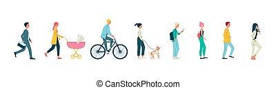 vektor, -, hintergrund, karikatur, weißes, freigestellt, illustration., satz, leute, gehen, wohnung