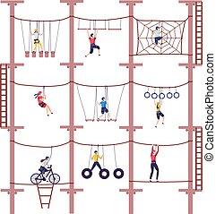 vektor, hochklettern, abenteuer, klettern, kinder, ausrüstung, karikatur, extrem, park, kindheit, seil, aktivität, illustration.