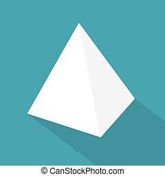 vektor, icon-, weißes, tetrahedron, abbildung