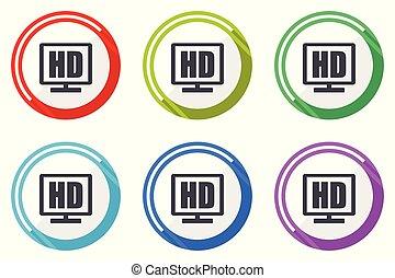 Vektor-Icons mit Hd-Display, Farb-Flachbild-Icons auf weißem Hintergrund.