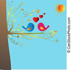 vektor, lieben vögel, bestand