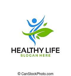 vektor, logo, leben, gesunde