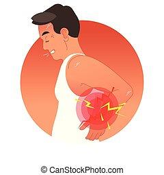 vektor, menschliche , sport, oder, überlasten, injury., zurück, arbeit, torso., abbildung, begriff, schmerzhaft