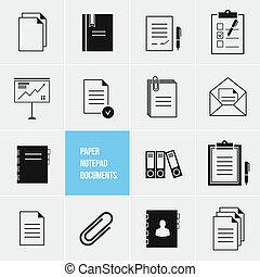 vektor, papier, dokumente, ikone, notizblock