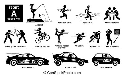 vektor, pictogram., alphabet, heiligenbilder, sport, spiele