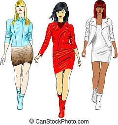 vektor, satz, leder, mädels, klagen, mode