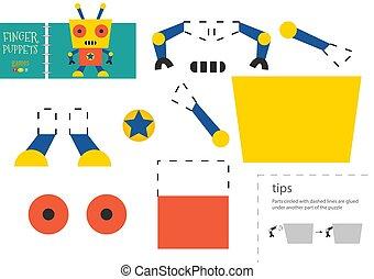 vektor, schneiden papier, lustiges, zeichen, robotic, klebstoff, pappe, modell, toy., freisteller