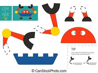 vektor, schneiden papier, roboter, lustiges, zeichen, klebstoff, pappe, modell, toy., freisteller