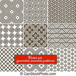 Vektor-Set: 9 geometrische, nahrlose Muster.