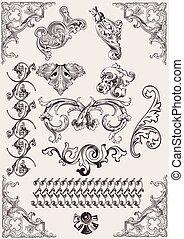 Vektor-Set: Kalligraphie-Entwicklungselemente und Seite Dekoration