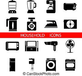 vektor, silhouette, symbole, freigestellt, satz, haushalt ikonen, abbildung