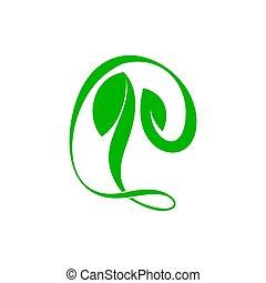 vektor, symbol, kurven, natur, logo, abstrakt, grün, einfache , blatt
