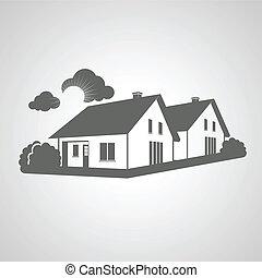 Vektor-Symbol von zu Hause, eine Gruppe von Häusern Ikonen, Immobilien.
