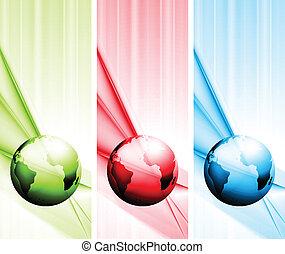 Vektor-Technor-Banner mit Globus absetzen