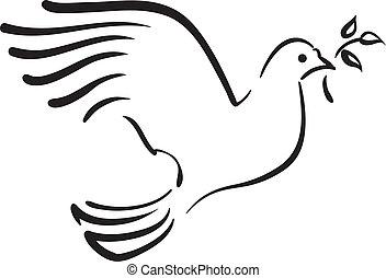 Vektor Weiße Taube mit Zweig