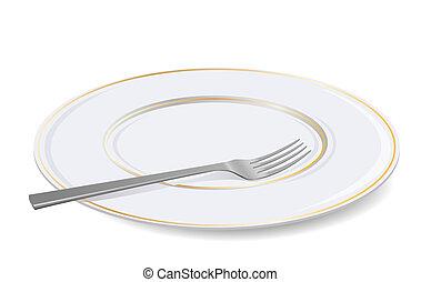 Vektor weißer Teller und Gabel.