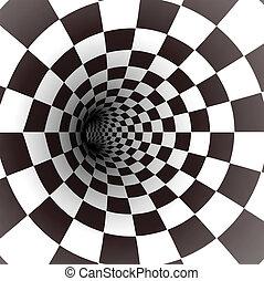 vektor, weißes, tunnel., schwarz, spirale