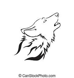 vektor, wolf, abbildung