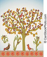 Vektorbaum mit Vögeln