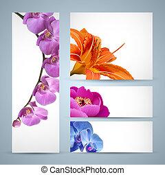 Vektorblüten, Orchideen, Lilien und Birnenblüten.